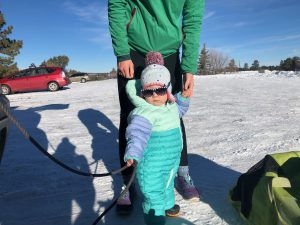 My daughter in a full body snow suit