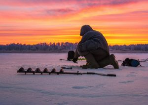 ice fishing in the evening