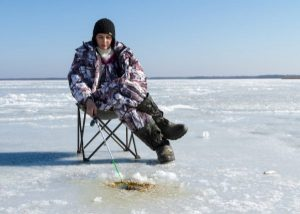 ice fishing in a chair
