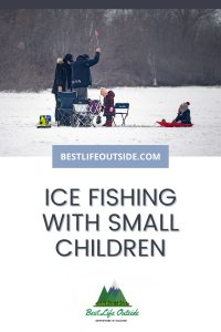 Ice fishing with small children